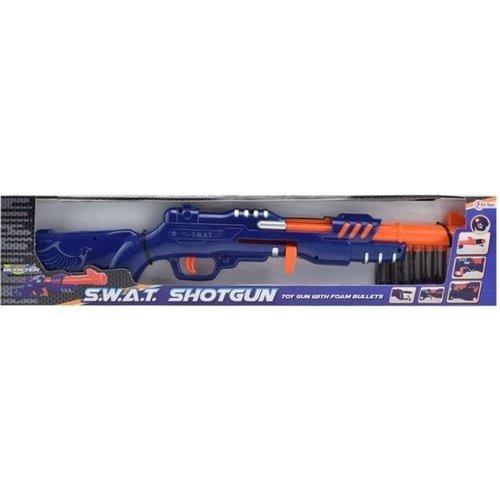 toi-toys Toi-toys Militaire Shotgun Blauw/oranje Met 6 Foampijlen 29 Cm