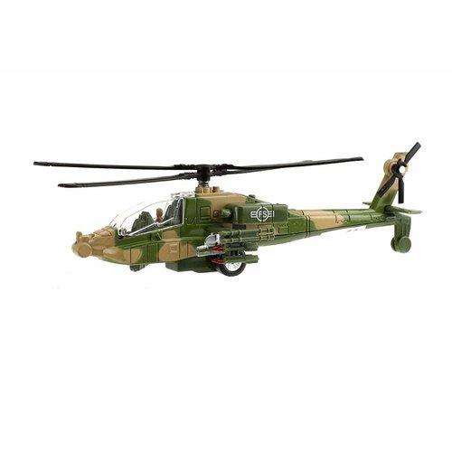 toi-toys Toi-Toys ARMY: Militaire gevechtshelikopter 20cm met licht en geluid (groene versie)