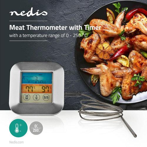 nedis Vleesthermometer | 0 - 250 °C | Kleurendisplay | Timer