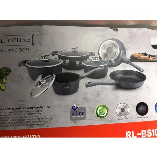 Royalty Line 10 PCS MARBLE COATING COOKWARE SET RL-BS1010M GRAY