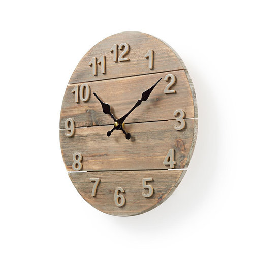 nedis Nedis Ronde Wandklok Diameter 30 Cm - houtdesign