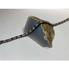 Armband met witte en paarse zirkonia's