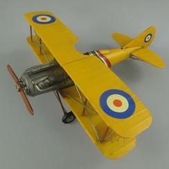 Gele blikken dubbeldekker vliegtuig WWI