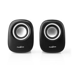 Nedis PC speaker | 2.0 | 12 W | 3.5mm Jack | Zwart / Zilver