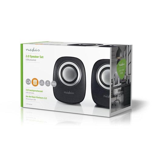nedis Nedis PC speaker | 2.0 | 12 W | 3.5mm Jack | Zwart / Zilver