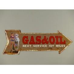 Gas&Oil metalen bord 70x25cm