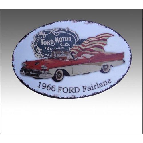deco 1966 Ford Fairlane metalen bord