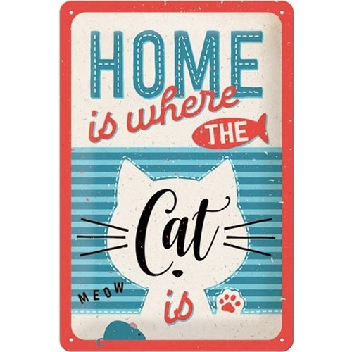 nostalgic art Home Is Where The Cat Is Metal plate - 20 x 30 cm