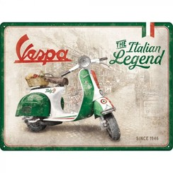 Vespa the italian legend metal plate 30x40cm