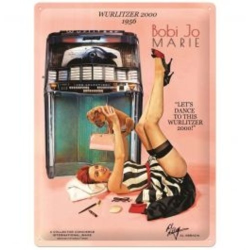 nostalgic art Fifties Store Wurlitzer 2000 Jukebox Pin-Up Bobi Jo Marie metalen bord 30x40cm