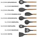 biko BIKO - Kookgerei - Keukengerei Kitchen Set - 13 delige set - Bamboe hout - Siliconen - BPA vrij