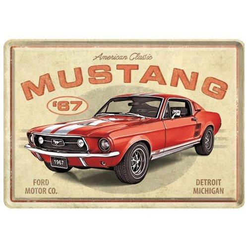 nostalgic art Ford Mustang - GT 1967 Red. Metalen Postcard 10 x 14 cm
