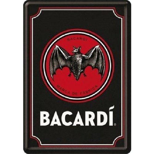 nostalgic art Bacardi - Logo Black. Metalen Postcard 10 x 14 cm