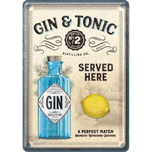 nostalgic art Gin & Tonic Served Here. Metalen Postcard 10 x 14 cm