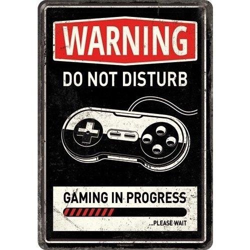 nostalgic art Do Not Disturb Gaming in progres. Metalen Postcard 10 x 14 cm