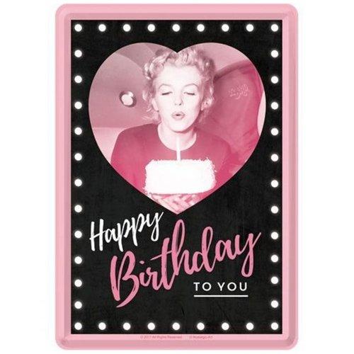 nostalgic art Marilyn Monroe Happy Birthday To You Metalen Postcard 10 x 14 cm
