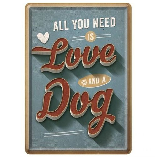nostalgic art All you need is love and a dog Metalen Postcard 10 x 14 cm
