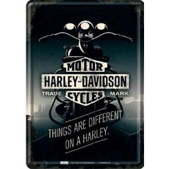 Harley-Davidson Things are different on a Harley Metalen Postcard 10 x 14 cm