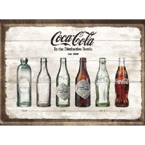 nostalgic art Coca Cola Timeline Metalen Postcard 10 x 14 cm