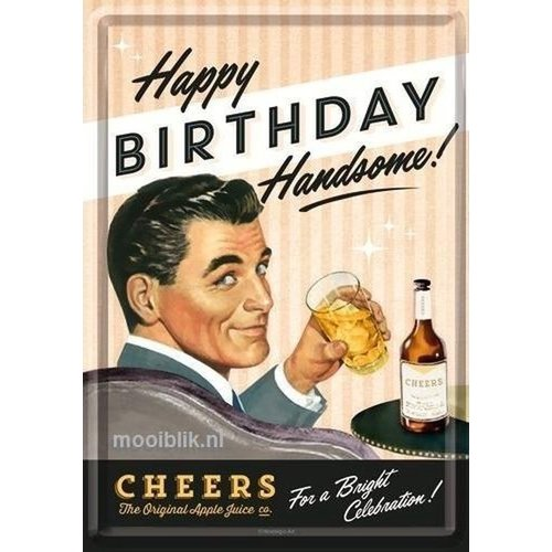 nostalgic art Happy Birthday Handsome! Metalen Postcard 10x14 cm
