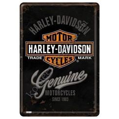 Harley Davidson Metalen Postcard 10 x 14 cm