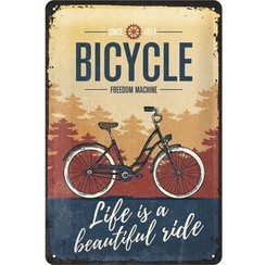 Wandbord - Bicycle freedom machine -20x30-
