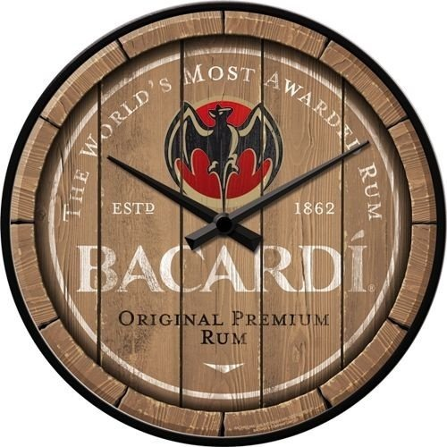 nostalgic art Bacardi - Wood Barrel Logo. Wandklok 31 cm