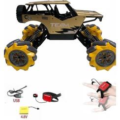 SteelCavalry - Stunt auto - Radiografisch Bestuurbare Auto - Voor Binnen en Buiten - Goud - Model 2021 - Schaal 1:16