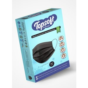 Topsoft Topsoft mondmasker zwart 3 laags 10 stuks