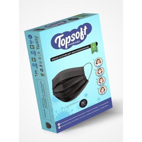 Topsoft Topsons mondmasker  zwart 3 laags 10 stuks