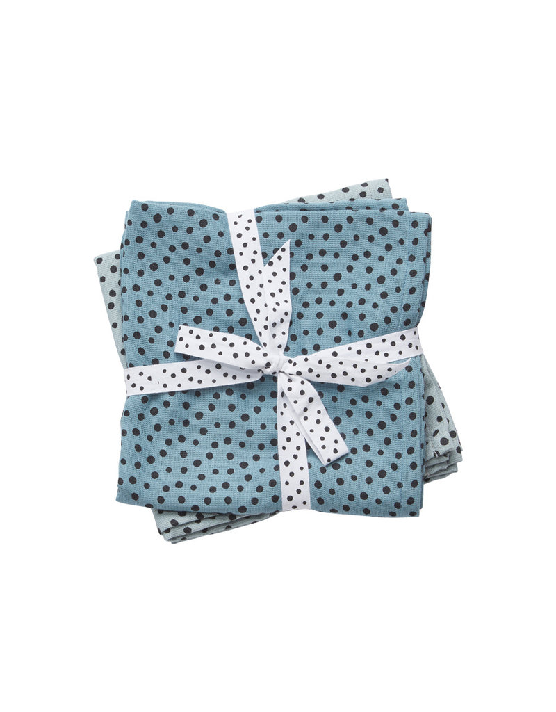 Done by Deer Done by Deer hydrofiele doek (2-pak) - Happy Dots Blauw 70x70