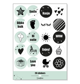 Studijoke Stickervel Baby Op Komst MUNT - Studijoke