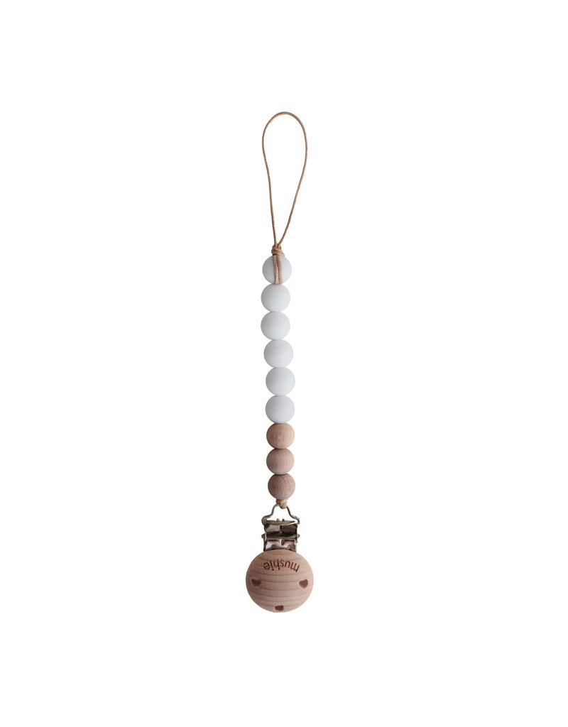 Mushie Fopspeenketting Cleo White/Wood - Mushie