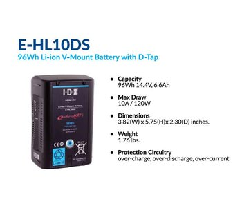 IDX E-HL10DS - High Load V-Mount, 14.4V 96Wh