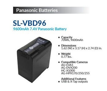 IDX SL-VBD96 - Li-Ionen Akku, 70Wh, 9.6Ah, 7.2V