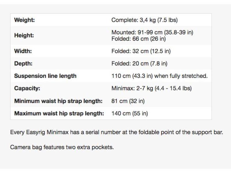 Easyrig It can take weights between 2-7 kg (4.4-15.4 lbs) - EASY-MM 100