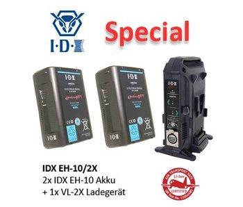 IDX EH-10/2X - 2x E-HL10DS Akku + 1x VL-2x Ladegerät