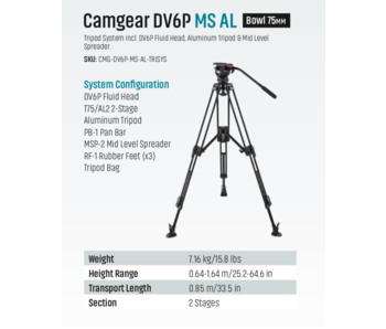 Camgear DV6P MS AL, Traglast bis 10kg, Alu, Schwenkkopf