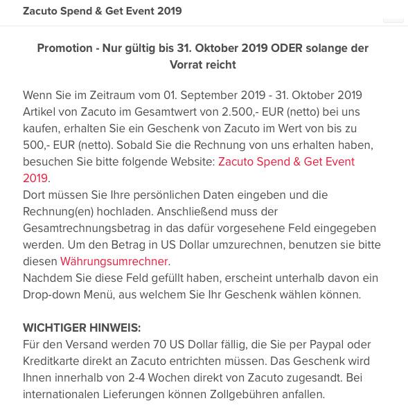 Zacuto Special Oktober 2019