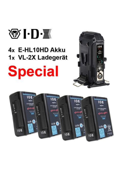 IDX 4x E-HL10HS Akku + 1x VL-2X Ladegerät - Special