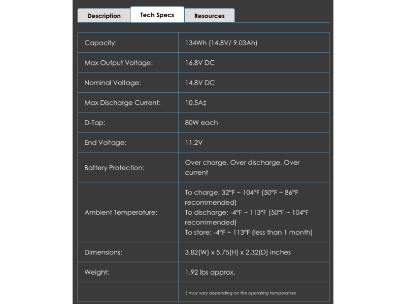 IDX 4 Stück CUE-H135 V-Mount -  14.8V, 134 Wh,  D-Tap