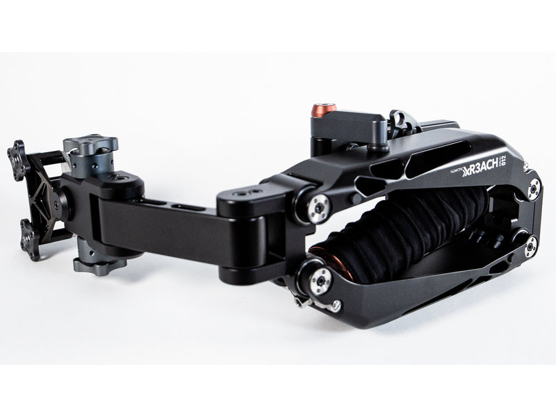 Flowcine that not only serves as a back mount but also acts as a single section articulated stabilization arm.