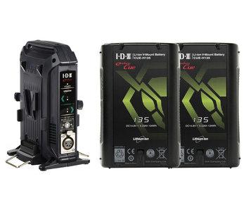IDX EC-H135/2X - Bundle: 2x IDX CUE-H135 V-Mount Akku ...