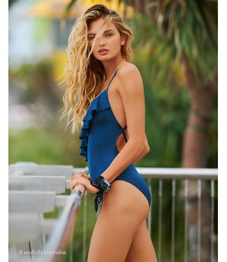 Seafolly Shine On Frill Front Maillot Blueprint