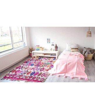 Pompom deken pink enkel