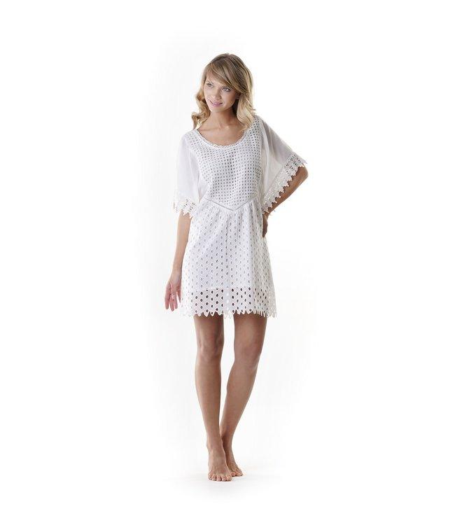 Iconique Sofia Mid-Sleeved Poncho Positano White