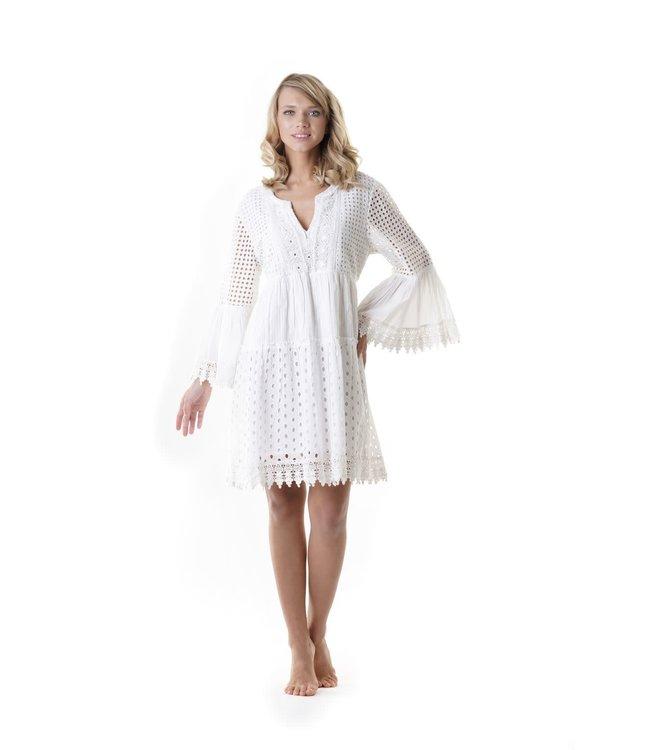 Iconique Mia 3/4 Sleeve Dress Positano White