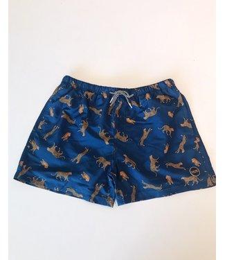 Shiwi Men Swim Short Leopard Jeans Blue