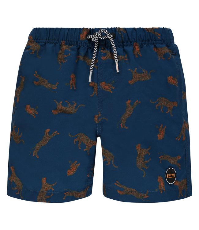 Shiwi Boy Swim Short Leopard Jeans Blue