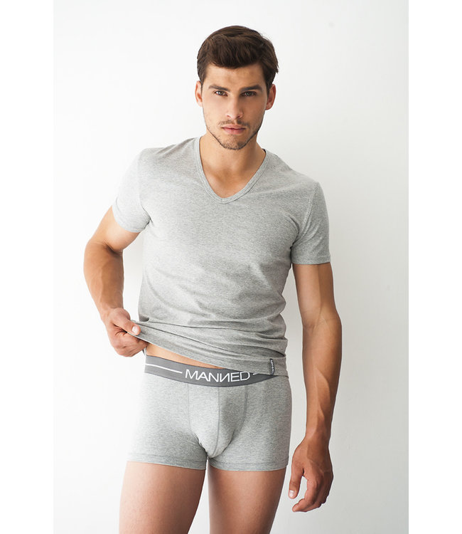 Manned Heren T-shirt Basic  Marl Grey